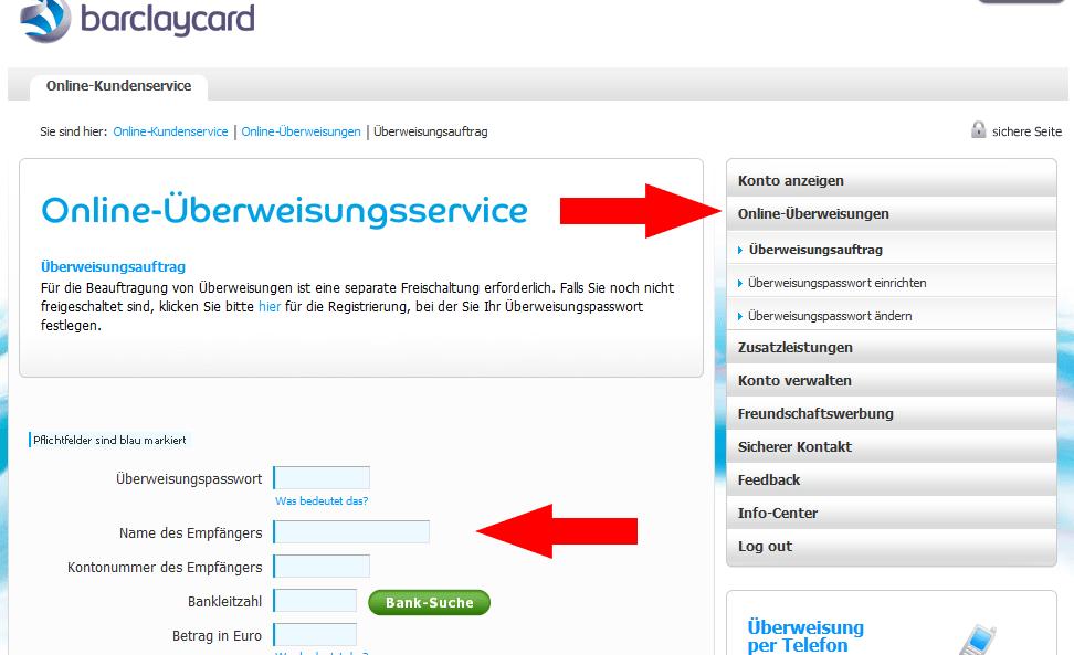 Online Überweisungsservice Barclaycard